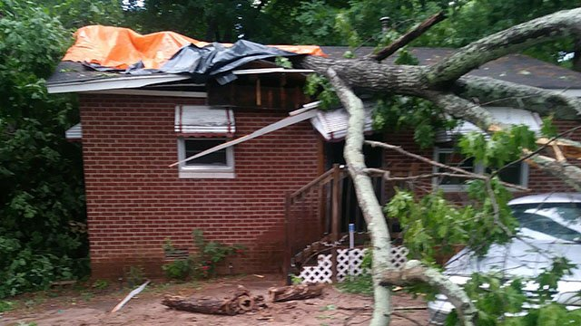 Tree on house in Spartanburg (Source: iWitness)