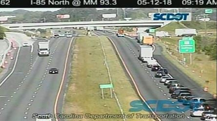 Collision blocking all lanes on I-85 S in Cherokee Co.  (Source: SCDOT)