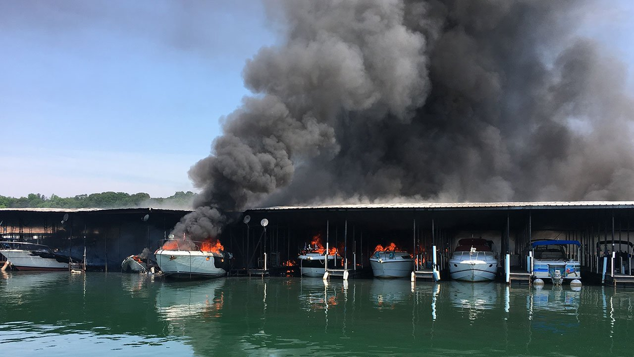 Fire destroys boats at Portman Marina (Source: Greg Shore)