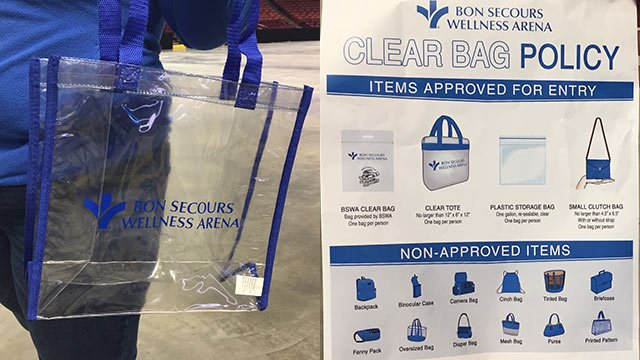 Clear bag policy enforced at the Bon Secours Wellness Arena (May 16, 2018/FOX Carolina)
