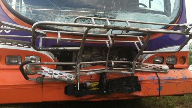 The CAT bus that troopers said was hit head-on, killing the driver of a car Friday. (June 22, 2012/FOX Carolina)