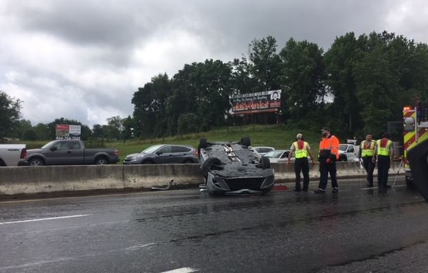 Car overturned on I-85 in Greenville County (FOX Carolina/ May 18, 2018)