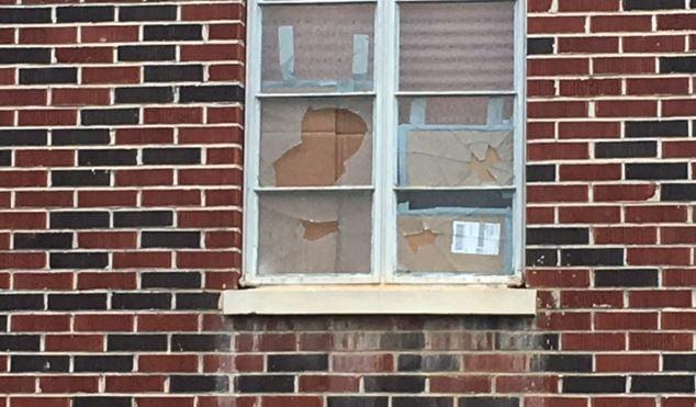 Damage to church window (FOX Carolina/ May 21, 2018)