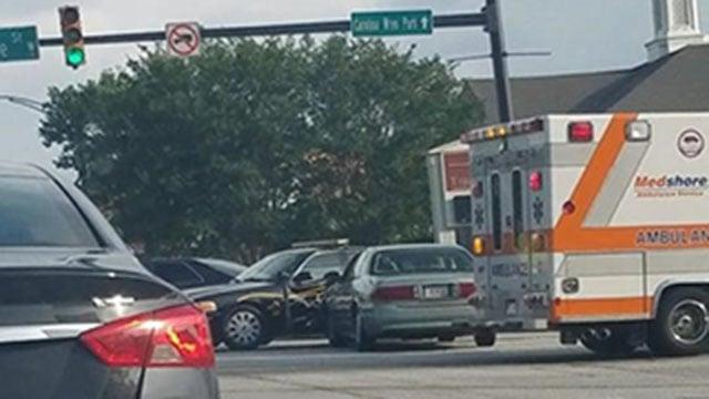 Scene of crash involving patrol car in Anderson (Source: iWitness)