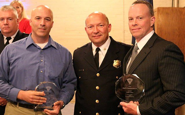 Left to right: Mr. Sevigny, Chief Ken Miller and Mr. Castro (Source: GPD)