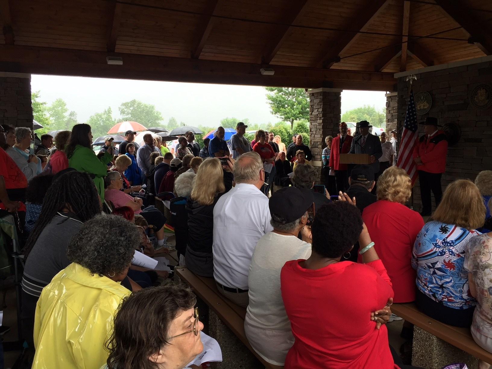 Ceremony held under shelter at MJ Dolly Cooper Veterans Cemetery (FOX Carolina/ May 28, 2018)