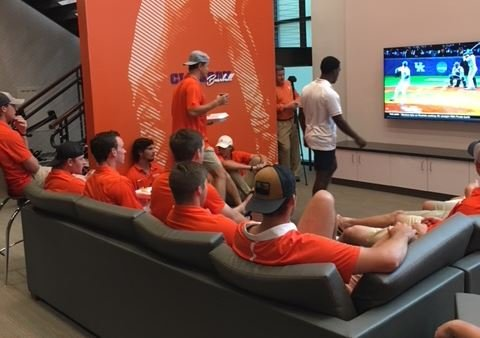 The Clemson baseball team watches the Selection Show on Monday (FOX Carolina/ May 28, 2018)