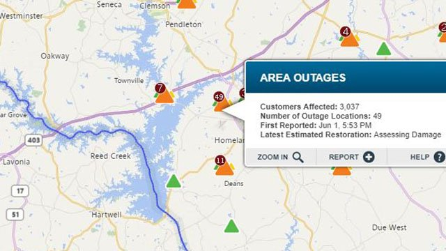 Several outages reported in Anderson County (Source: Duke Energy)