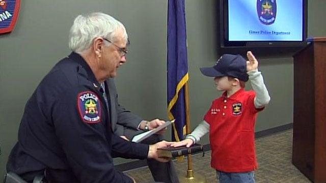 Jaden Jones is sworn in as Greer's police chief. (Feb. 9, 2012/FOX Carolina)