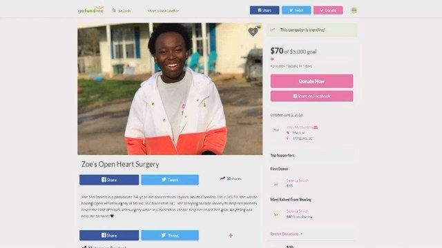 GoFundMe for Zoe McDaniels, who will have open heart surgery in July (FOX Carolina/ 6/7/18)