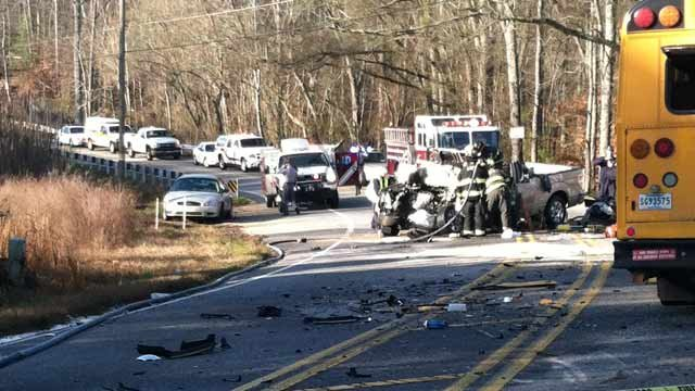 Scene of the accident along W. Georgia Road in Simpsonville. (Feb. 15, 2012/FOX Carolina)