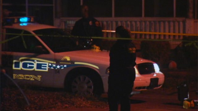 The scene after the fatal shooting along Kennedy St. in Anderson Wednesday night. (Feb. 15, 2012/FOX Carolina)