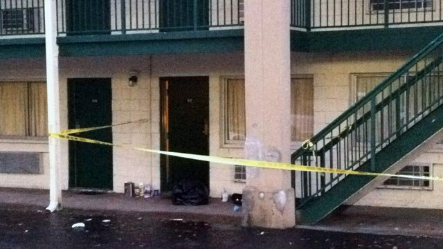 A hotel room is roped off at the Regal Inn on Wade Hampton Blvd. in Greenville. (Feb. 23, 2012/FOX Carolina)
