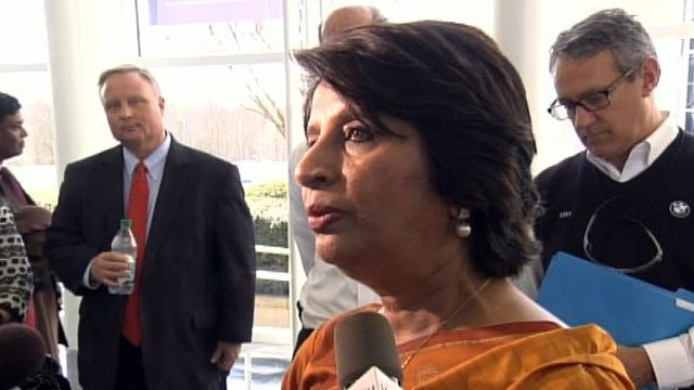 Indian Ambassador Nirupama Rao talks to the media during her visit to the BMW plant in Spartanburg County. (March 1, 2012/FOX Carolina)