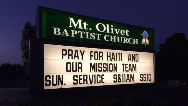 Sign outside Mt. Olivet Baptist (July 9, 2018/FOX Carolina)