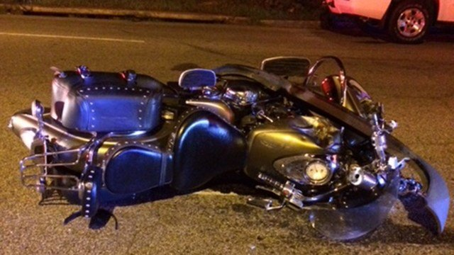 Motorcycle in roadway after hit-and-run (Source: Family)