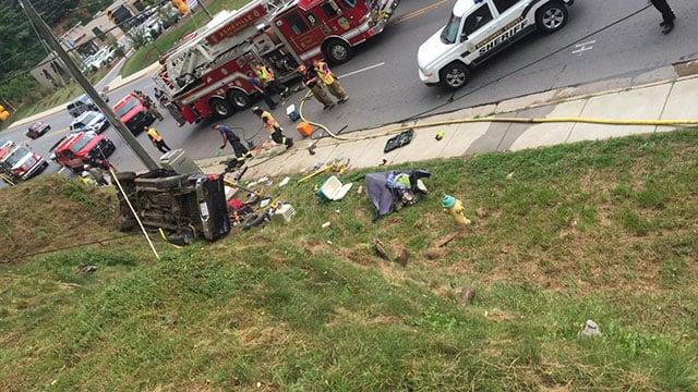 The scene near Tunnel Road and Azalea Road East. (Photo courtesy: Asheville Fire Department/ July 16, 2018)
