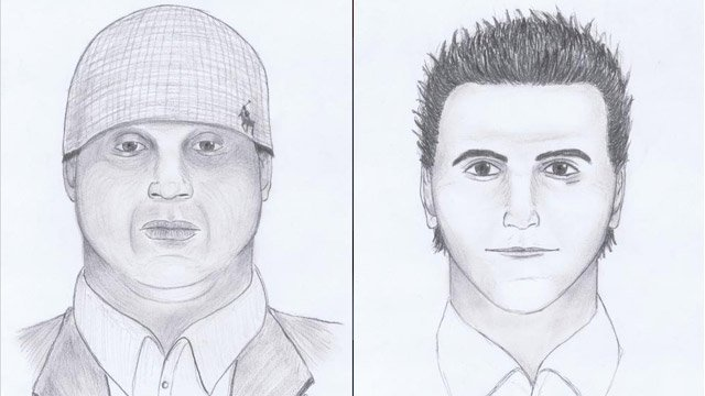 Anderson police released these sketches Thursday of the two suspects who robbed the Jewelry Depot store. (Anderson Police Dept.)