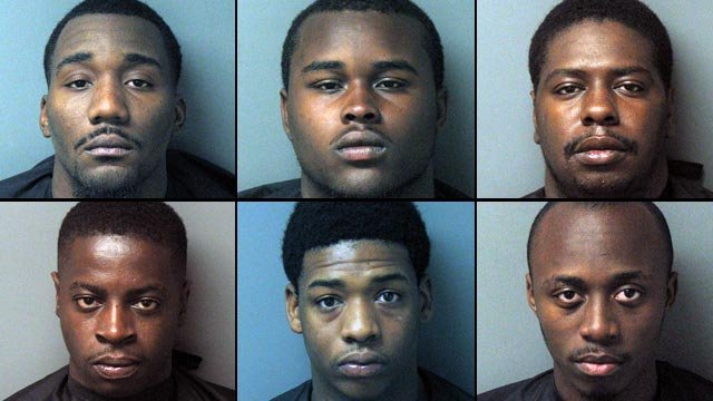 From top-left to lower-right:Teryn Robinson, 18, Tray Holland, 19, Justin Alexander, 20, Derick Williams, 22, Kino Jones, 25, and Montrez Jones, 22. (Seneca Police Dept.)