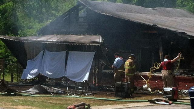 Fire destroyed a home along Sims Avenue in Monarch Monday. (April 9, 2012/FOX Carolina)
