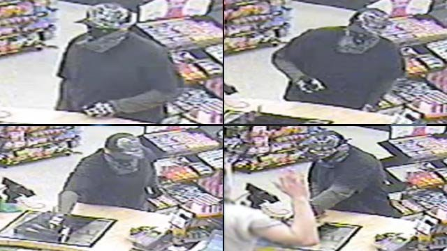 Surveillance photos show the man deputies said robbed the Circle K store and shot the clerk Monday morning. (April 9, 2012/Spartanburg Co. Sheriff's Office)