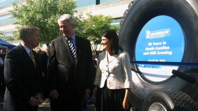Michelin North America Chairman Pete Selleck along with Gov. Nikki Haley and Sen. Lindsey Graham at the economic announcement. (April 10, 2012/FOX Carolina
