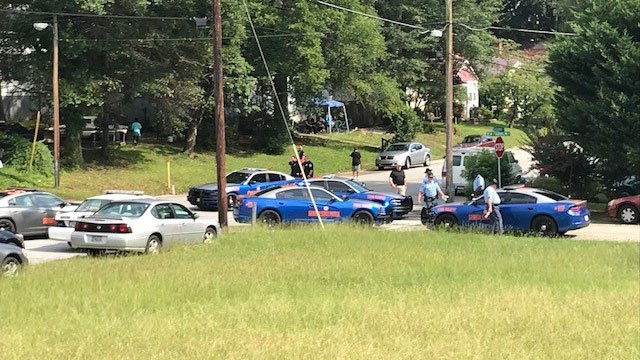 The scene on South Alexander Street in Toccoa on Wednesday. (FOX Carolina/ August 8, 2018)
