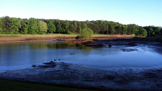Water levels at Oak Grove Lake are extremely low after a problem with the dam. (April 12, 2012/FOX Carolina)
