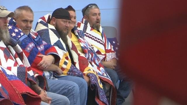 Sixteen veterans presented with Quilt of Valor