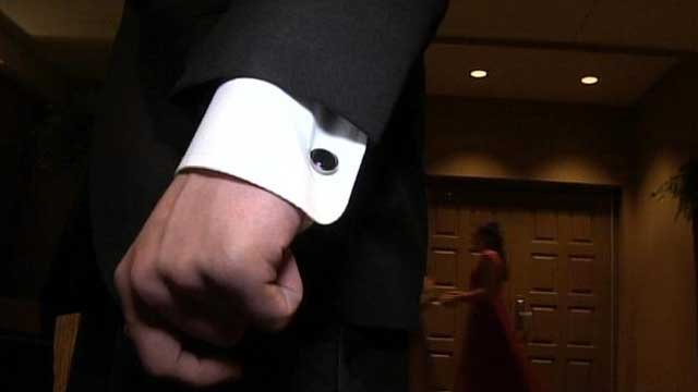 The cuff of a man's tux is seen during a Greenville banquet. (April 13, 2012/FOX Carolina)
