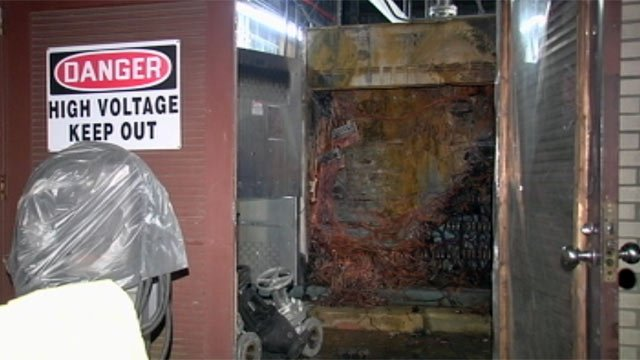 Fire left behind some damage at a Transylvania Regional Hospital Sunday night after an boiler exploded. (April 15, 2012/FOX Carolina)