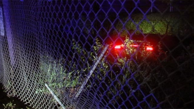 The car deputies say crashed through a Milliken plant fence after it led them on a chase Wednesday morning. (April 18, 2012/FOX Carolina)