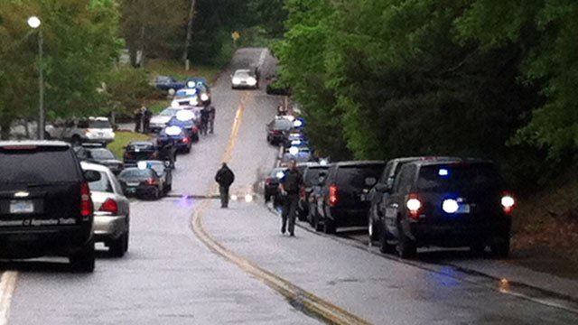 Several cruisers can be seen on Lakeside Drive after a chase. (April 18, 2012/FOX Carolina)