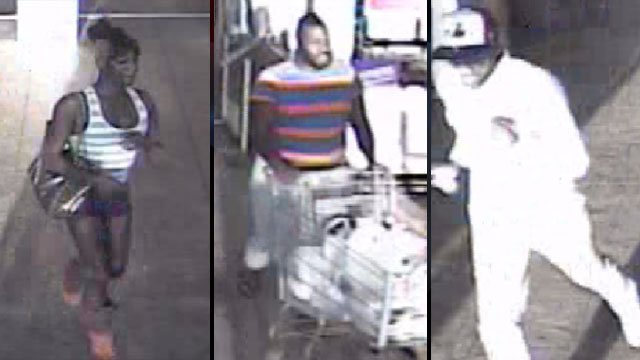 Police say these three people stole merchandise from a Spartanburg Wal-Mart store. (April 1, 2012/Spartanburg Public Safety Dept.)