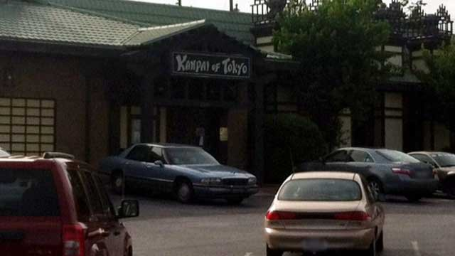 Cars are parked at Kanpai of Tokyo in Spartanburg. (April 23, 2012/FOX Carolina)