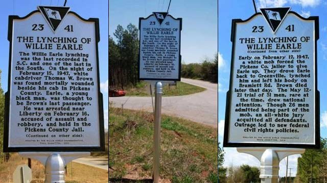 Deputies say the Willie Earle historic marker located at Hwy 124 and Old Bramlett Road is gone. (Greenville Co. Sheriff's Office)
