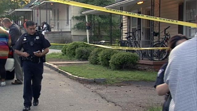 Police investigate Davius Boyd's death at a home along Willard St. in Greenville. (April 28, 2012/FOX Carolina)
