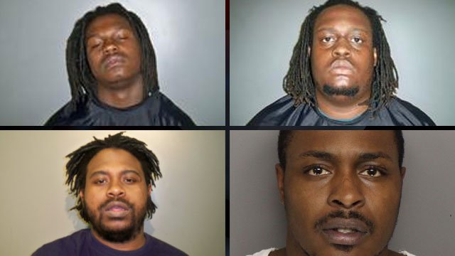 From top left to lower right: Jimterraus Mack, Lorenzo Wilson, Marcus Lee and Daquan Scott. A photo of Jerry Lee was not provided. (Laurens Co. Sheriff's Office)