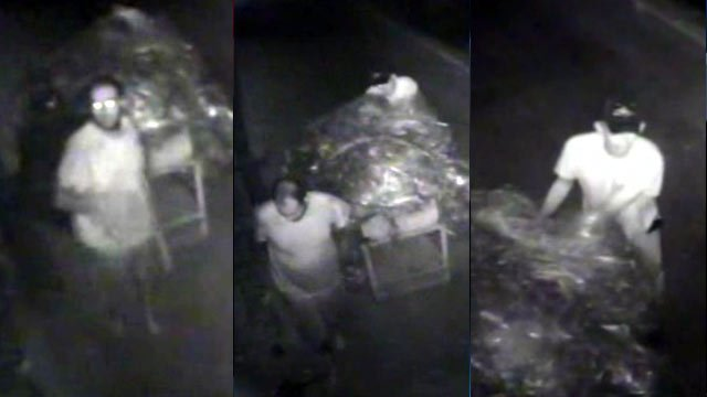 Deputies say the men in these pictures stole metal and gasoline from Bommer Industries in Landrum. (Spartanburg Co. Sheriff's Office)