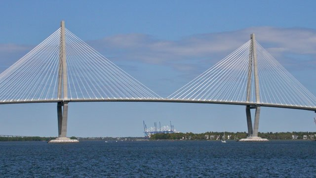 The Arthur Ravenel Jr. Bridge that links Charleston and Mount Pleasant is seen from Charleston. (Wikipedia)