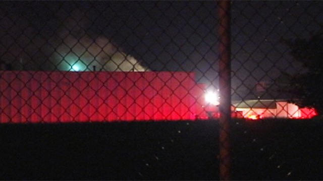 Smoke billows from Tietex International, which is located on North Blackstock Road. (May 2, 2012/FOX Carolina)