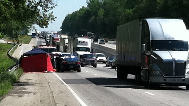 Troopers at the scene of the fatal crash along I-85 Wednesday. (May 2, 2012/FOX Carolina)
