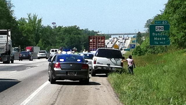The tractor trailer parked in front of troopers along I-85 Wednesday. (May 2, 2012/FOX Carolina)