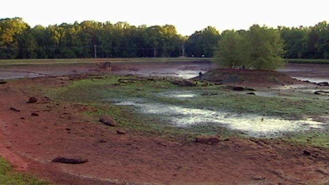 Oak Grove Lake drained due to a problem with the dam in April. (April 13, 2012/FOX Carolina)