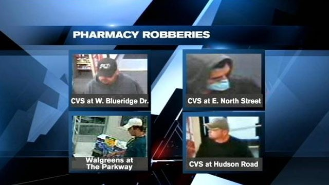 Surveillance photos of four of the five robberies. (Greenville Co. Sheriff's Office)