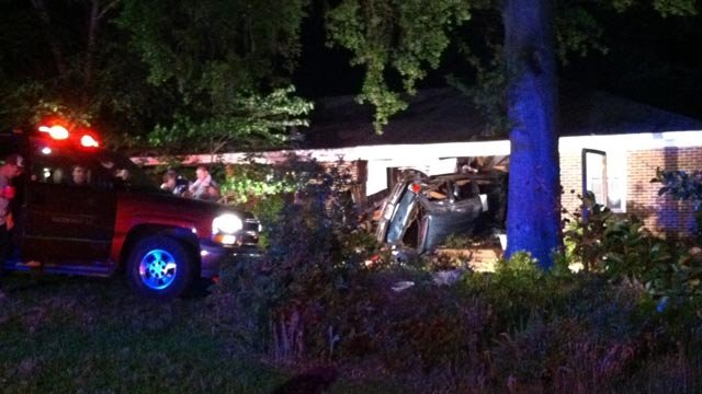 A car crashed into Kay Court home Friday. (May 18, 2012/FOX Carolina)