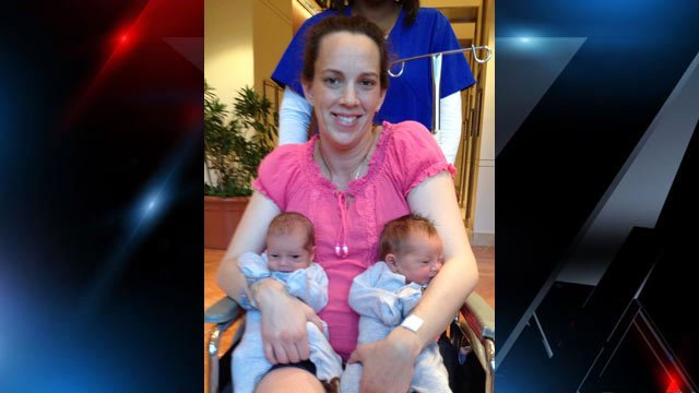 Lana Kuykendall with her newborn twins before getting sick in Greenville. (Courtesy Janelle Alier)