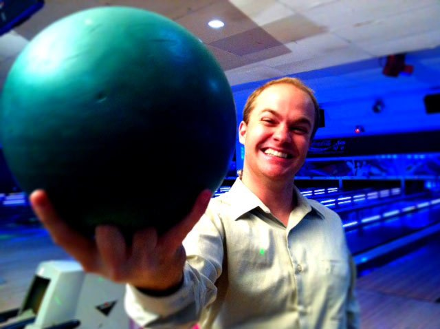 Reporter Joe Gagnon at Paradise Lanes wishes he was young enough to bowl for free. (May 22, 2012/FOX Carolina)