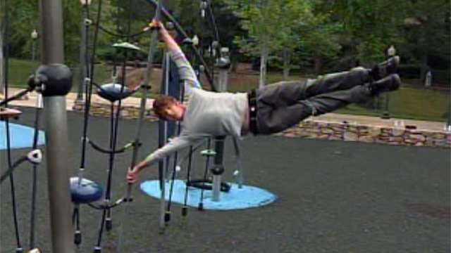Chad Tomberlin practices parkour in a downtown Greenville park. (May 23, 2012/FOX Carolina)
