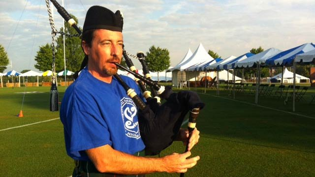 Nick Williams plays the bagpipe in preparation for the Games. (May 24, 2012/FOX Carolina)